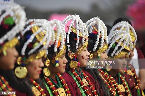 KATHMANDU NEPAL KATHMANDU NP NEPAL Nepalese Gurung community girl smiles in a traditional attire during the celebration of Tamu Lhosar or Losar at...