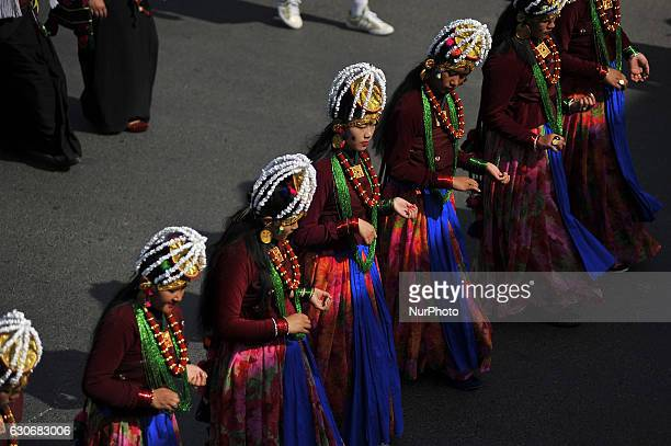 Nepalese Gurung community people dance in a tune of traditional instrument during the celebration of Tamu Lhosar or Losar at Kathmandu Nepal on...