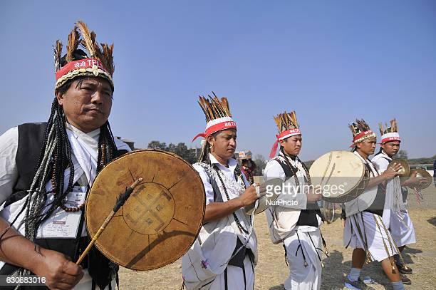 Nepalese Gurung community people plays traditional instrument during the celebration of Tamu Lhosar or Losar at Kathmandu Nepal on Friday December 30...