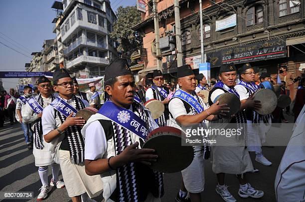 KATHMANDU NEPAL KATHMANDU NP NEPAL Nepalese Gurung community people plays traditional instrument during the celebration of Tamu Lhosar or Losar at...