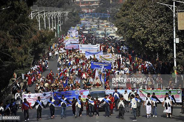 Nepalese Gurung people in a traditional attire during the celebration of Tamu Lhosar or Losar at Kathmandu Nepal on Friday December 30 2016 Gurung...