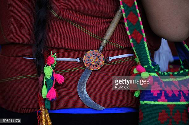 A Nepalese Gurung woman in a traditional attire hold Sickle on a back side as a part of Gurung tradition during the celebration of Tamu Loshar in...
