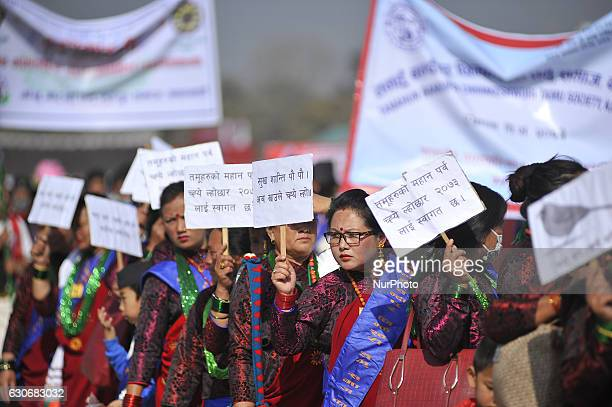 Nepalese Gurung woman wearing traditional attire during the celebration of Tamu Lhosar or Losar at Kathmandu Nepal on Friday December 30 2016 Gurung...