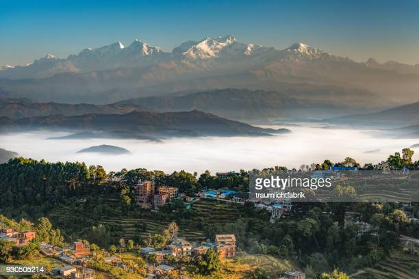 Nepalese Himalayas seen from Bandipur in the morning