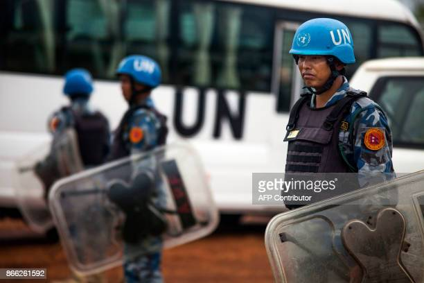 Nepalese members of UN antiriot police stand guard during a visit of the US Ambassador to the United Nations to the UN Protections of Civilians Juba...