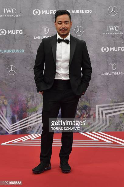 Nepalese mountaineer Nirmal Purja poses on the red carpet prior to the 2020 Laureus World Sports Awards ceremony in Berlin on February 17 2020