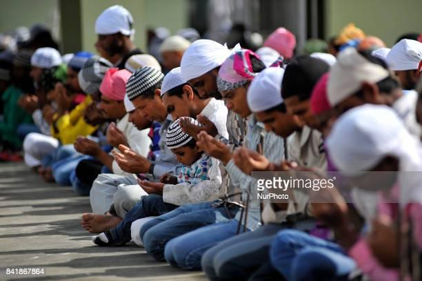 Nepalese Muslim offering ritual prayer during celebration of Bakra Eid or Eid alAdha or IdulAzha on Saturday September 02 2017 in Kashmiri Jame...
