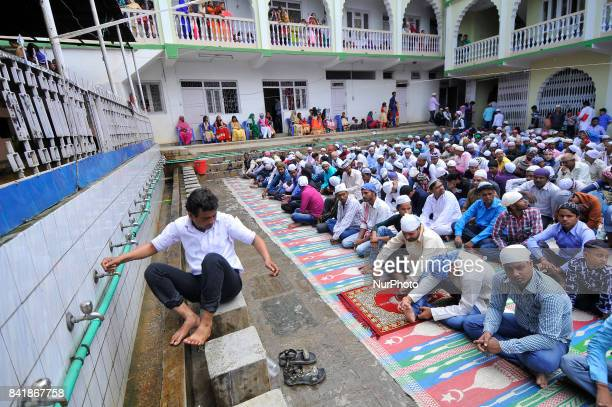 Nepalese Muslim wash his hands, face and feet before praying during celebration of Bakra Eid or Eid al-Adha or Id-ul-Azha on Saturday, September 02,...