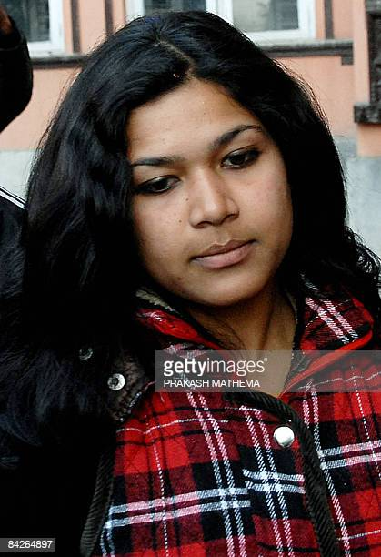 Nepalese national Nihita Biswas , the fiancee of convicted murderer Charles Sobhraj comes out from the Supreme Court following a court hearing in...