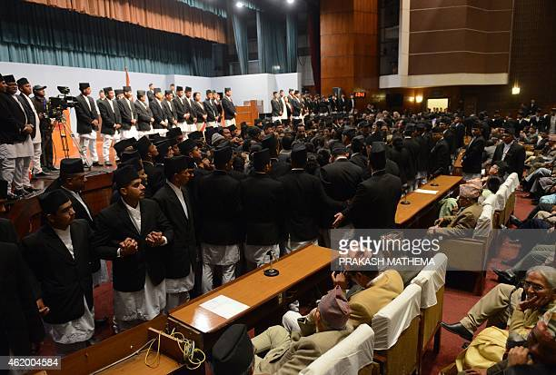 Nepalese opposition lawmakers obstruct a meeting of parliament in Kathmandu on January 23 2015 Protests by Nepal's opposition lawmakers threw...