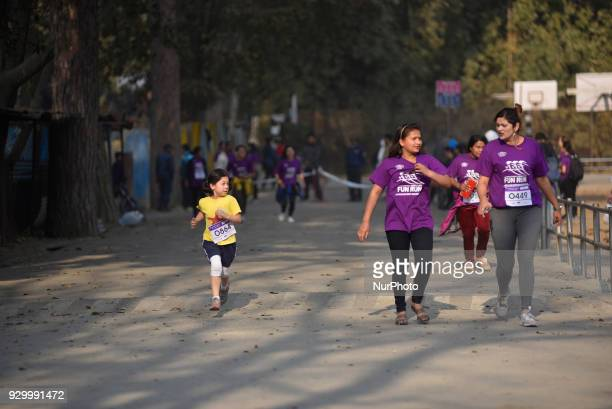 Nepalese people and foreigners starts running on an International Women's Day 5K Fun Run at Patan Nepal on Saturday March 10 2018 Nepalese people and...