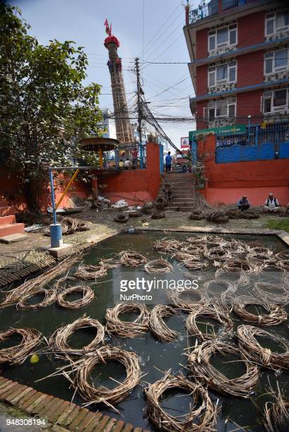 Nepalese people arranging traditional rope for the making the chariot of Idol Rato Machindranath 'Rain of God' at Pulchowk Laltipur Nepal on...