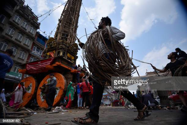 Nepalese people from Barahi community making the chariot of Idol Rato Machindranath 'Rain of God' at Pulchowk Laltipur Nepal on Wednesday April 18...