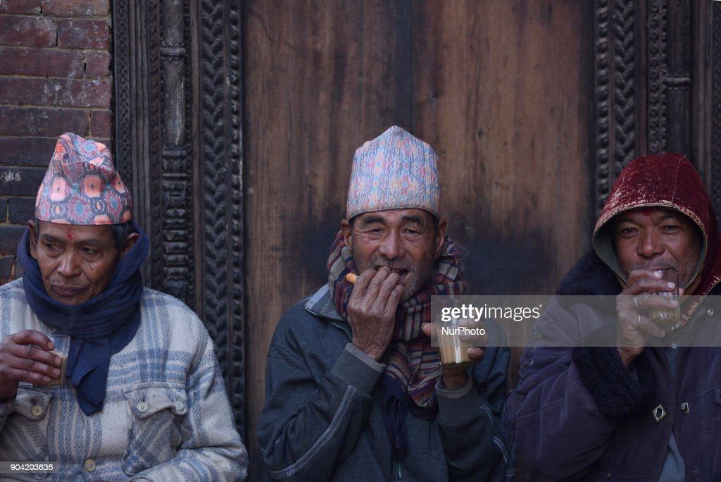 Nepalese people having morning tea at Bhaktapur, Nepal on Friday, January 12, 2018.