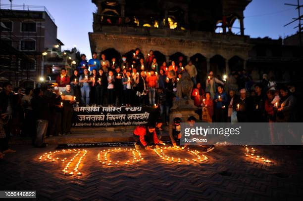 Nepalese people lit a candle lights on the memory of Nirmala Panta in 100th day at the premises of Krishna Mandir Patan Nepal on Friday November 02...