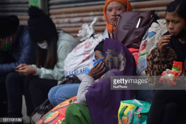 Nepalese People returning Kathmandu from Biratnagar are stranded during lockdown as concerns about the spread of Corona Virus at Thankot, Kathmandu,...