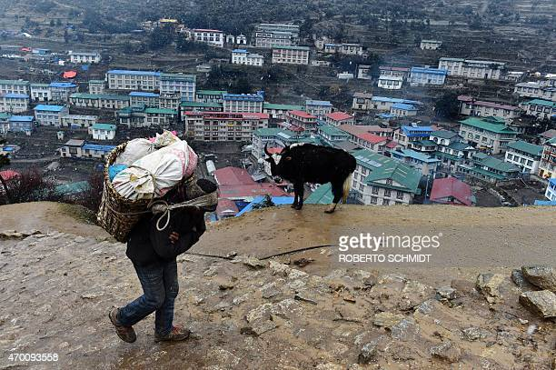 A Nepalese porter carries a load of butchered beef to be delivered at local lodge during wet snow precipitation as he walks high above the north...