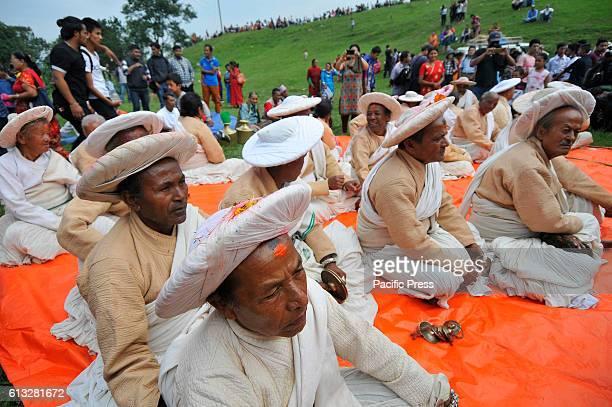 KHOKANA PATAN PATAN NP NEPAL Nepalese priests arrives around the premises of Shikali Temple during celebration of Shikali Festival at Khokana Village...