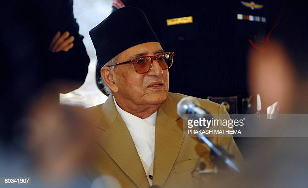 Nepalese Prime Minister Girija Prasad Koirala addresses reporters during a press meet at Baluwatar in Kathmandu on March 22 2008 All political groups...