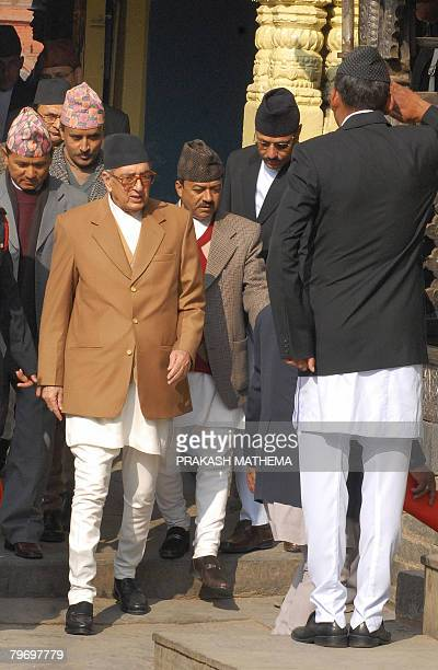 Nepalese Prime Minister Girija Prasad Koirala arrives for a religious ceremony at the 16th century palace Hanumandhoka on the occasion of Basanta...
