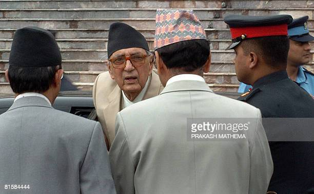 Nepalese Prime Minister Girija Prasad Koirala arrives for the inaugural flaghoisting ceremony at former King Gyanendra's palace Naryanhiti Palace...