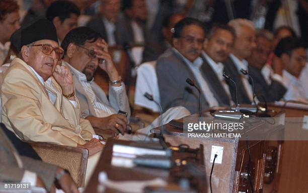 Nepalese Prime Minister Girija Prasad Koirala attends the Constitutional Assembly meeting in Kathmandu on June 26 2008 Nepal's interim premier and...