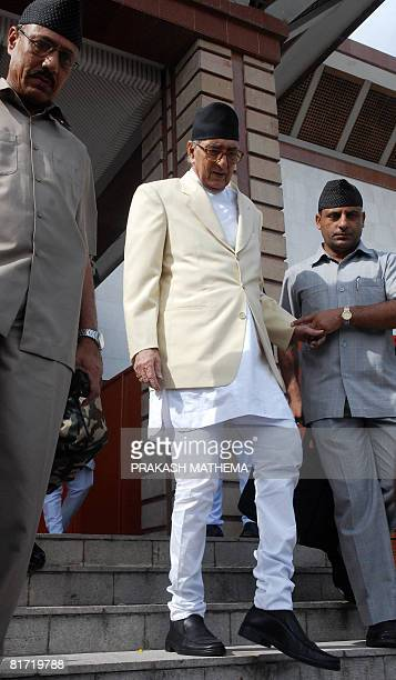 Nepalese Prime Minister Girija Prasad Koirala leaves the Parliaament after his resignation in Kathmandu on June 26 2008 Nepal's interim premier and...