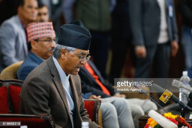 Nepalese Prime Minister Sher Bahadur Deuba addresses to the nation to announce his resignation at his office in Kathmandu Nepal on February 15 2018