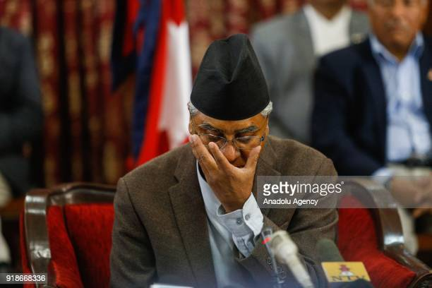 Nepalese Prime Minister Sher Bahadur Deuba is seen ahead of addressing to the nation to announce his resignation at his office in Kathmandu Nepal on...