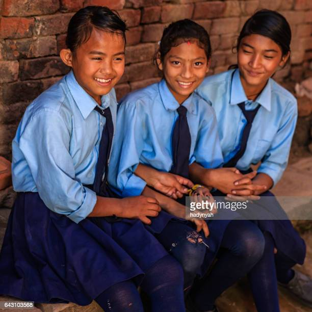Nepalese schoolgirls in Bhaktapur, Nepal