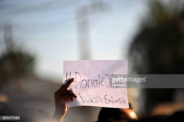 Nepalese social media Twitteratis carries placard rally in front of the Indian Embassy at Lainchaur Kathmandu on 07 October 2015 as after the Indian...