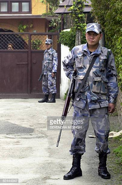 Nepalese soldier guards the home of Nepali Congress president and former Nepalese prime minister Girija Prasad Koirala at Maharajgunj near Kathmandu...