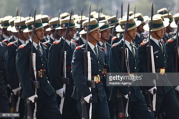 Nepalese soldiers march during a ceremony at the Army Parade Ground in Kathmandu on September 19 2016 The ceremony is being held to mark the first...