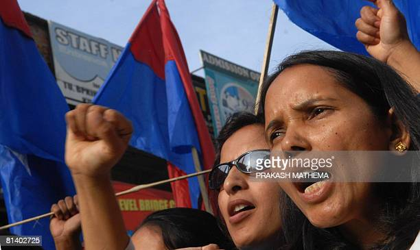 Nepalese student activists chant antigovernment slogans in Kathmandu on June 4 2008 to protest the decision to allow former king Gyanendra to stay at...