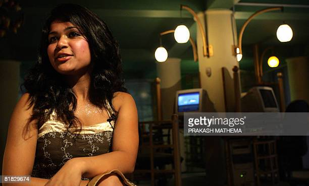 Nepalese woman Nihita Biswas, the fiancee of convicted murderer Charles Sobhraj, speaks to journalists in Kathmandu on July 5, 2008. Known as the...