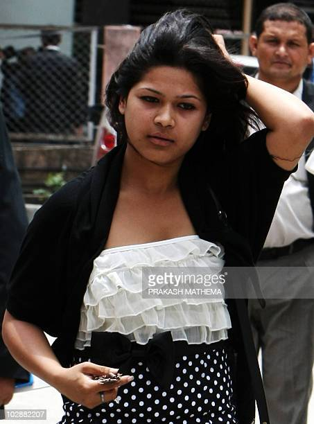 """Nepalese woman Nihita Biswas who reportedly married """"Bikini Killer"""" Charles Sobhraj in prison two years ago, arrives at the Supreme Court in..."""