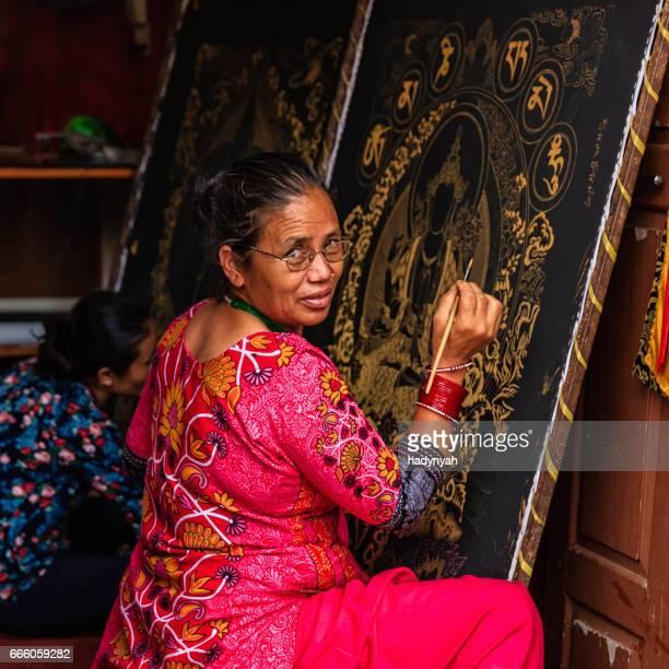 Nepalese women painting a thangka, Bhaktapur