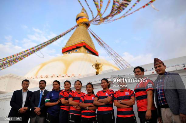 Nepalese women rugby players along with coach takes group photos along with the Webb Elllis Rugby World Cup 2019 Trophy infront Boudhanath Stupa...