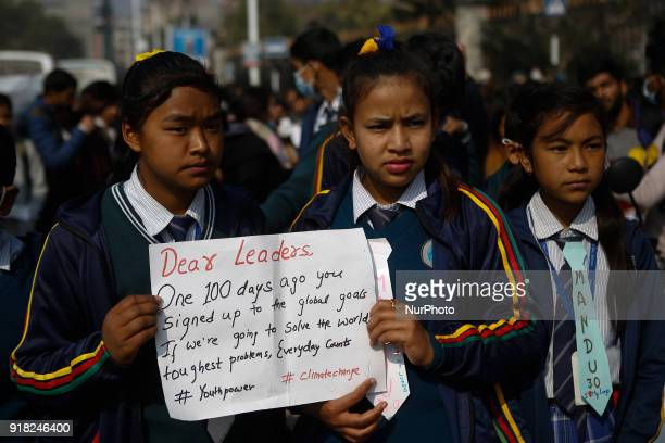 Nepalese youth and students demonstrate as they participate in campaign Maskmandu against the increasing air pollution in Kathmandu, Nepal, February...