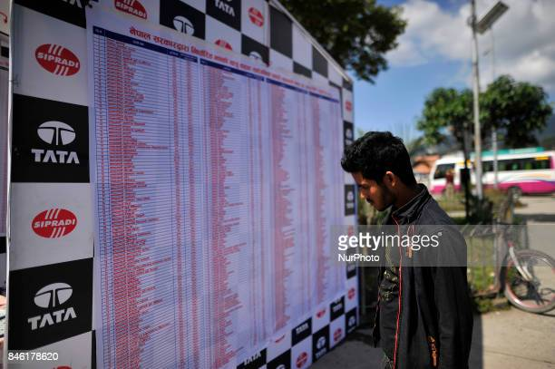 A Nepalese youth check the price list of transportation for the upcoming Biggest Dashain Festival celebration at New Bus park Kathmandu Nepal on...