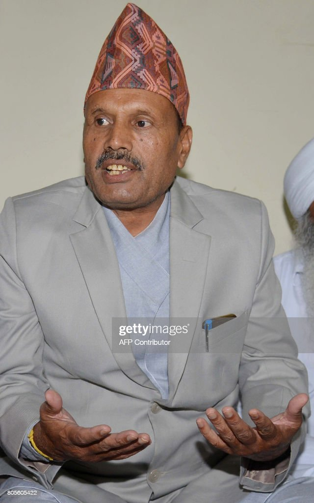 Nepali advisor to the the vice president of Nepal Mahaveer Parsad Tordi speaks during a press conference in Amritsar on July 2 2017 Tordi is visiting.