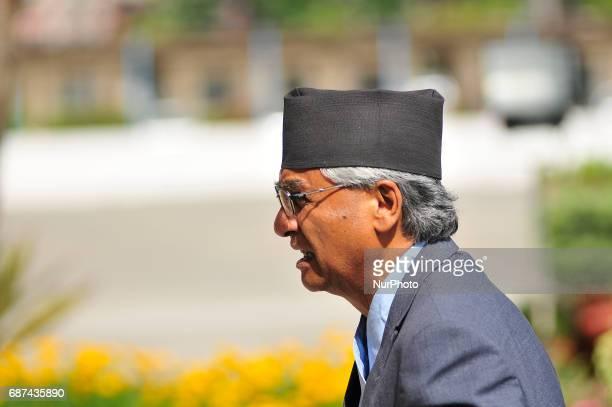 Nepali Congress President Sher Bahadur Deuba arrives at the parliament in Kathmandu Nepal on Tuesday May 23 2017