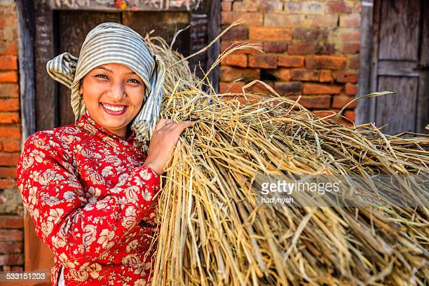 nepali girl carrying rice straw in bhaktapur, nepal - nepalese ethnicity stock pictures, royalty-free photos & images