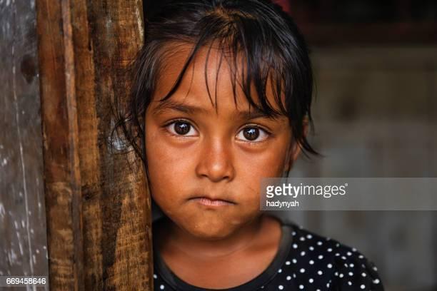 nepali girl  in village near annapurna range - annapurna circuit stock photos and pictures