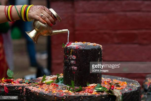 Nepali Hindu devotee offers cow milk to a Shiva lingam next to the bagmati River during the first day of the Sarwan Brata festival the month of...