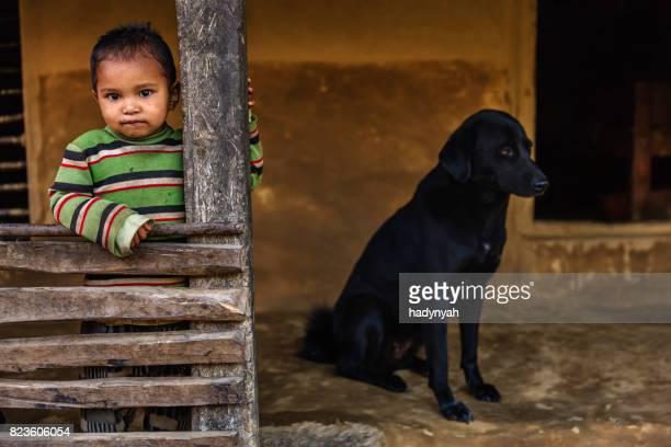 Nepali little girl  in village near Annapurna Range