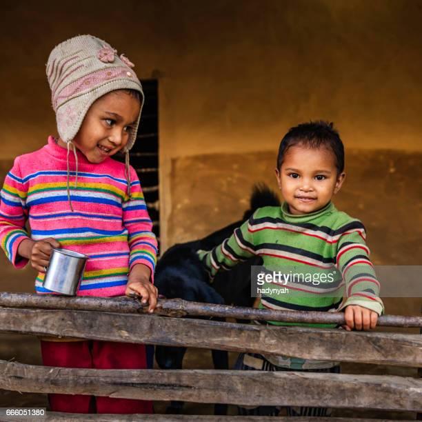Nepali little girl with her brother, village near Annapurna Range