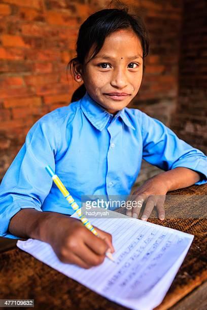 Nepali schoolgirl in classroom
