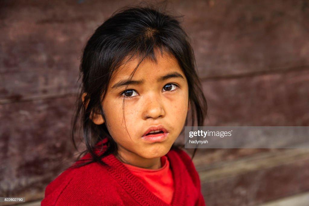 Nepali schoolgirl  in village near Annapurna Range : Stock Photo