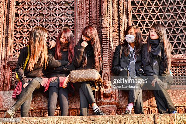 Nepali schoolgirls in Durbar Square, Kathmandu, Nepal